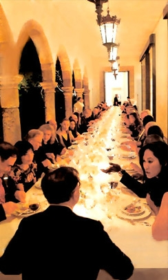 Photo of Michael Chow hosting dinner party